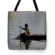 Cartoon - Splashing In The Water Caused Due To Kashmiri Man Rowing A Small Boat Tote Bag