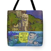 Cartoon - Statue Of The Merlion With A Banner Below The Statue Tote Bag