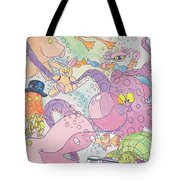 Cartoon Sea Creatures Tote Bag
