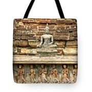 Carved Figures At Wat Mahathat In 13th Century Sukhothai Histori Tote Bag