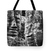 Carved Stone Faces In The Khmer Temple Tote Bag