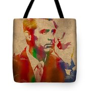 Cary Grant Watercolor Portrait On Worn Parchment Tote Bag