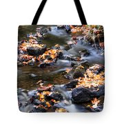 Cascading Autumn Leaves On The Miners River Tote Bag