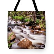 Cascading Rocky Mountain Forest Creek Tote Bag