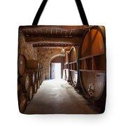 Castelle Di Amorosa Barrel Room Tote Bag by Scott Campbell