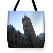 Castle And Clock Tower Tote Bag