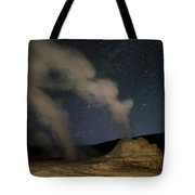 Castle Geyser With Milky Way In Lower Tote Bag