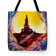 Castle Rock Silhouette Painting In Wax Tote Bag