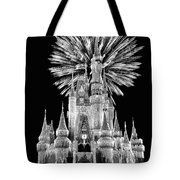 Castle With Fireworks In Black And White Walt Disney World Tote Bag