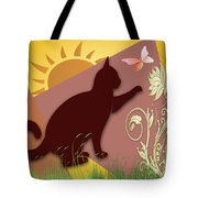 Cat And Butterfly Tote Bag
