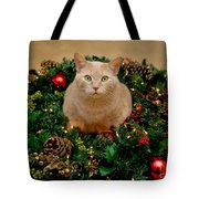 Cat And Christmas Wreath Tote Bag