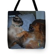 Cat And Dog Fight Tote Bag