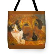 Cat And Dog Original Oil Painting  Tote Bag