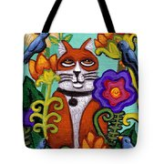 Cat And Four Birds Tote Bag