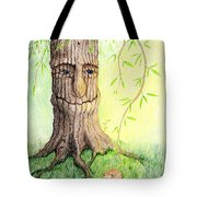 Cat And Great Mother Tree Tote Bag