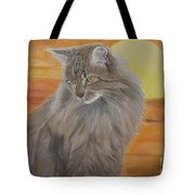 Cat And Sunset  Tote Bag