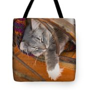 Cat Asleep In A Wooden Rocking Chair Tote Bag