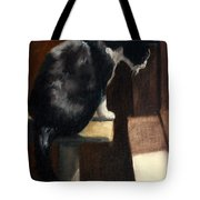 Cat At A Window With A View Tote Bag