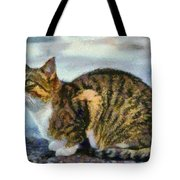 Cat By The Seaside Tote Bag