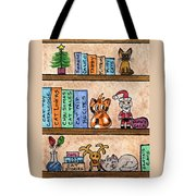 Cat Chrismas Shelves Tote Bag