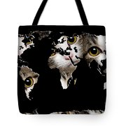 Cat Eyes World Map 2 Tote Bag by Andee Design