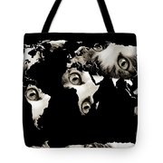 Cat Eyes World Map Tote Bag