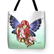 Cat Fairy In Blue  Tote Bag