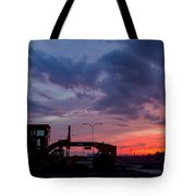 Cat Grader Sunset Silhouette Tote Bag