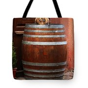 Cat Guarding A Wine Barrel In Alsace Tote Bag