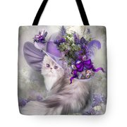 Cat In Easter Lilac Hat Tote Bag
