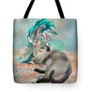 Cat In Summer Beach Hat Tote Bag