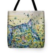 Cat In The Grass Tote Bag
