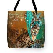Cat In The Leopard Trim Santa Hat Tote Bag
