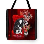 Cat In The Valentine Steam Punk Hat Tote Bag
