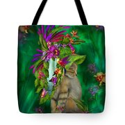Cat In Tropical Dreams Hat Tote Bag