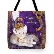 Cat In Victorian Santa Hat Tote Bag
