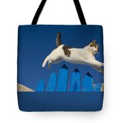 Cat Jumping A Gate Tote Bag