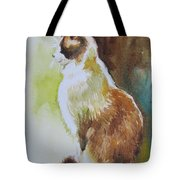 White And Brown Cat Tote Bag