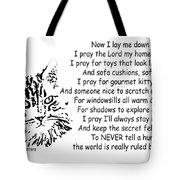 Cat Now I Lay Me Down To Sleep Tote Bag