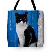 Cat On A Greek Island Tote Bag