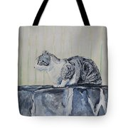 Cat On A Stone Wall Tote Bag