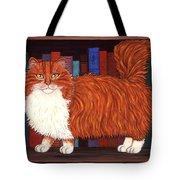 Cat On Book Shelf Tote Bag