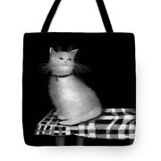 Cat On Checkered Tablecloth   No. 3 Tote Bag