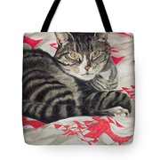 Cat On Quilt  Tote Bag
