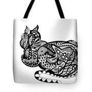 Cat With Design Tote Bag