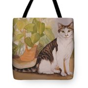 Cat With Plant Tote Bag