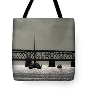 Catamaran Anchored At Old Bahia Honda Bridge Tote Bag
