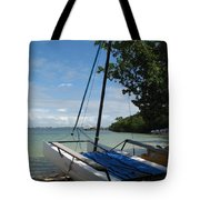 Catamaran On The Beach Tote Bag
