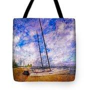 Catamarans At The Lake Tote Bag by Debra and Dave Vanderlaan