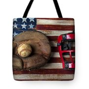 Catchers Glove On American Flag Tote Bag